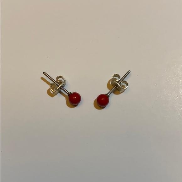 red sphere earrings